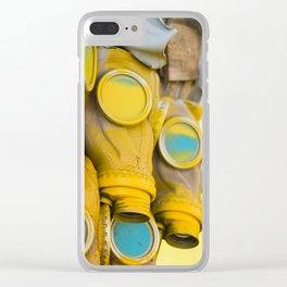 Yellow gas mask Clear iPhone Case