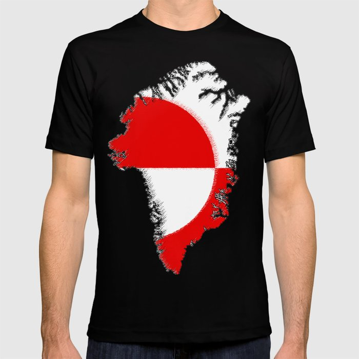 Greenland Map with Flag T-shirt