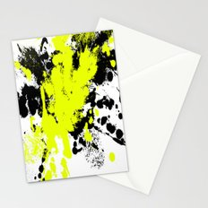 Surprise! Black and yellow abstract paint splat artwork Stationery Cards