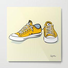 Yellow Sneakers Metal Print