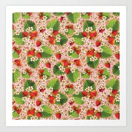 Pink Paisley Strawberries Art Print