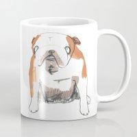 bulldog Mugs featuring Bulldog by jo clark