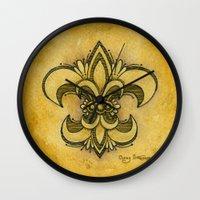 fleur de lis Wall Clocks featuring Michelle Fleur de Lis by Cindy Strecker