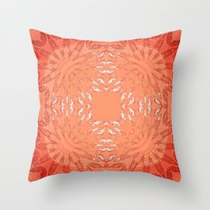 Coral Red Color Burst Throw Pillow
