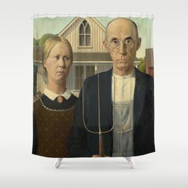 AMERICAN GOTHIC - GRANT WOOD Shower Curtain