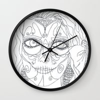 day of the dead Wall Clocks featuring Day of the Dead by MTHARU