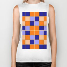 Blues and oranges check Biker Tank