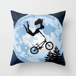 Doll Riding A BMX - ET Style - With Pink Stilettos! Throw Pillow