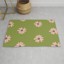 Colorful retro home decor and textile design flower pattern on olive Rug