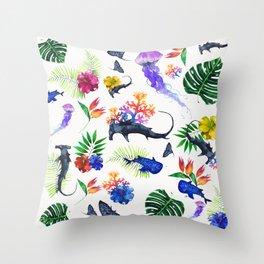 tropical shark pattern Throw Pillow