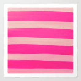 Modern Abstract Magenta Pink Stripes Brushstrokes Art Print