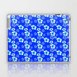 Blue Floral And Turtles Hawaiian Pattern Laptop & iPad Skin
