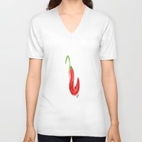 chile V-neck T-shirts featuring Chile by Guacamole Design