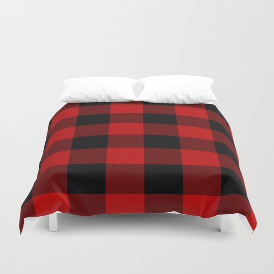 Red And Black Buffalo Plaid Duvet Cover By Sutton Place