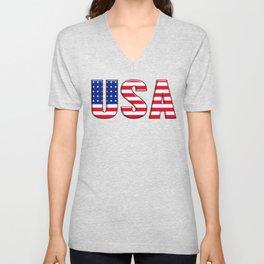 United States Font with American Flag Unisex V-Neck