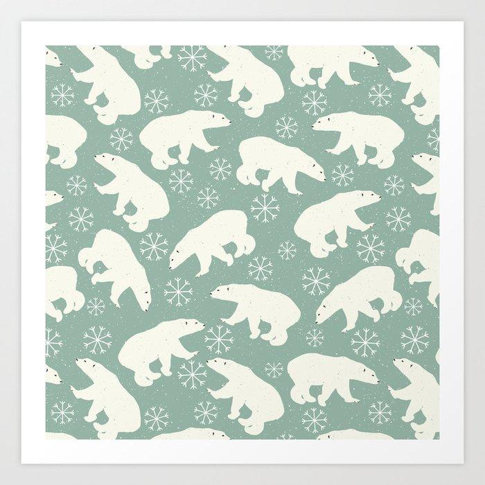 Merry Christmas - Polar bear - Animal pattern Art Print