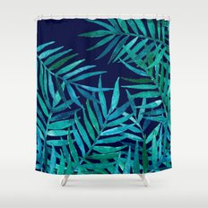 Watercolor Palm Leaves on Navy Shower Curtain