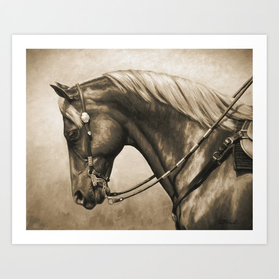 Western Quarter Horse Old Photo Effect Art Print