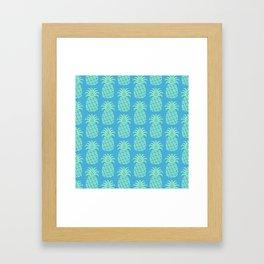 Mid Century Modern Pineapple Pattern Blue and Green Framed Art Print