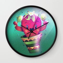 Strawberry Cactus Wall Clock