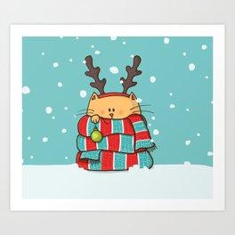 Christmas Cat Art Print