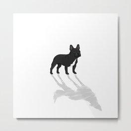Wild At Heart - Black French Bulldog Metal Print