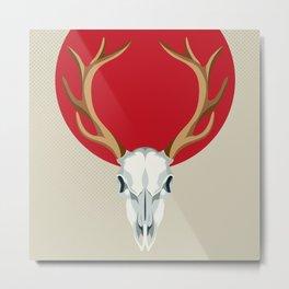 Crowned red deer skull Metal Print
