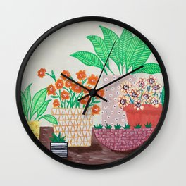 Plants in Printed Pots Wall Clock