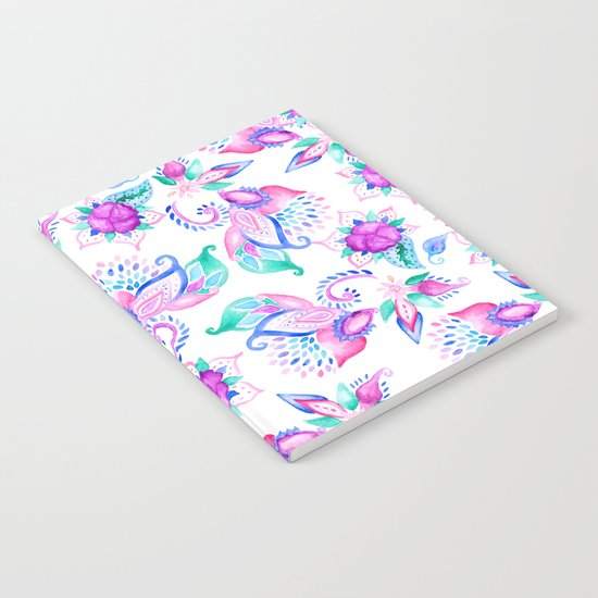 Modern pink turquoise hand painted floral paisley pattern illustration  Notebook