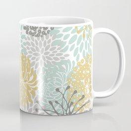 Floral Abstract Print, Yellow, Gray, Aqua Coffee Mug