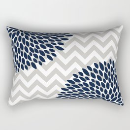 Chevron Floral Modern Navy and Grey Rectangular Pillow