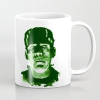frankenstein Mugs featuring Frankenstein by Doug Slack