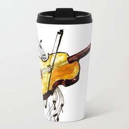 Yellow violin and notes Travel Mug