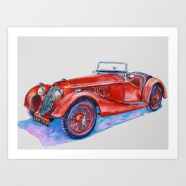 Classic red old car with purple shadow Art Print