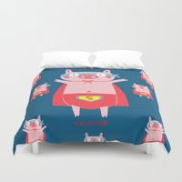 super hero Duvet Covers featuring I need a super hero! by Sucoco