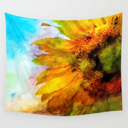 Sunflower on colorful watercolor background - Flowers Wall Tapestry