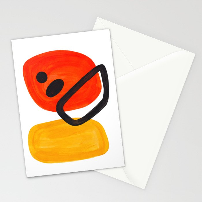 Midcentury Modern Colorful Abstract Pop Art Space Age Fun Bright Orange Yellow Colors Minimalist Stationery Cards