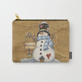 Folk Art Snowman Christmas Carry-All Pouch