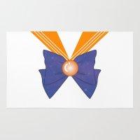 sailor venus Area & Throw Rugs featuring Galactic Sailor Venus Bow by Valentina Cariel