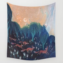 Night of the Foxes Wall Tapestry