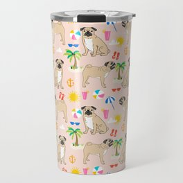 Pug Life beach day vacation sunshine surfing must have dog gift pet portrait fun in the sun sport Travel Mug