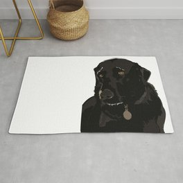 Labrador dog face (black) Rug