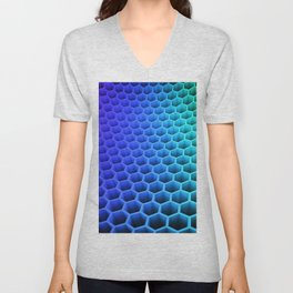 3D Colorful Honey Comb Hexagon Pattern Ultra HD Unisex V-Neck
