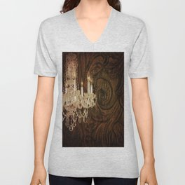 rustic western country leather texture crystal chandelier Unisex V-Neck