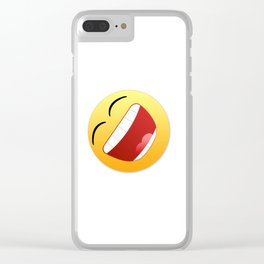 Happy state of mind emoticon laughing with mouth wide open Clear iPhone Case