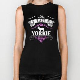 Yorkie Design I Love Yorkie Kisses Pink Biker Tank