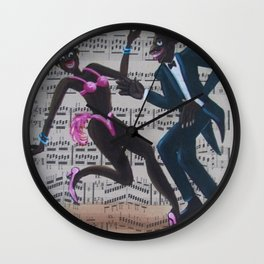 African American 'Apollo Theater Sheet Music Portrait No. 7' Lindy Hop by Miguel Covarrubias Wall Clock
