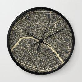 Paris Map yellow Wall Clock