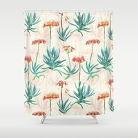 50s Shower Curtains featuring Flowering Succulent Pattern in Cream, Coral and Green by micklyn