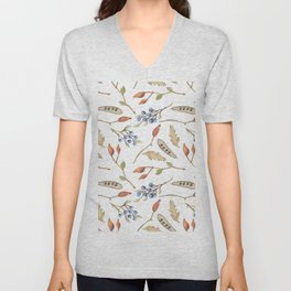 Rustic brown blue green watercolor berries Autumn floral Unisex V-Neck